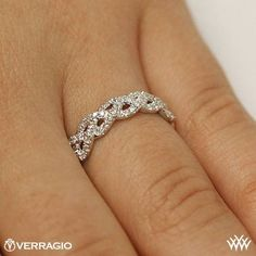 This Diamond Wedding Ring is from the Verragio Eterna Collection. It features 0.60ctw of Round Brilliant Diamond melee. Please allow 4 weeks for completion. Platinum carries a 5 week turnaround time. If you have any questions regarding this item then please contact one of our friendly diamond and jewelry consultants at 1-877-612-6770. WED-4023 - On hand view