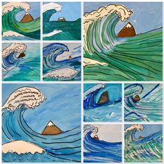 Amongst the Waves in Fourth Grade (Kim & Karen: 2 Soul Sisters) 6th Grade Art, Fourth Grade, Sisters Art, Soul Sisters, Wave Art, Middle School Art, Art Lessons Elementary, Arts Ed, Japan Art
