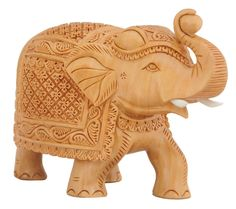 """Bulk Wholesale Hand-Carved 6"""" Statue of Trunk-Up Elephant in Kadam Wood in Light-Brown Color with Intricate Carving and Fine Details – Antique-Look Home Décor from India"""