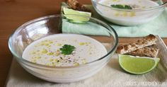 Cold Garlic Almond Soup with Coriander and Lime make this with water melon croutons Vegan Recepies, Vegan Soups, Raw Vegan Recipes, Almond Recipes, Vegan Vegetarian, Healthy Recipes, Vegan Food, My Favorite Food, Favorite Recipes