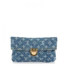 LOUIS VUITTON Monogram Denim Pochette Plat Clutch Blue ❤ liked on Polyvore featuring bags, handbags, clutches, monogrammed clutches, blue clutches, denim purse, white clutches and white handbags