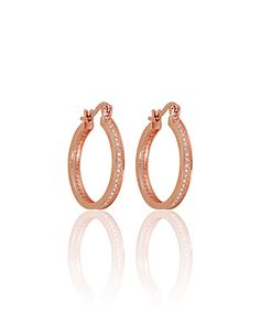 Love this Rose Gold Micropavé Hoop Earrings by Yellow Gold, Inc. on #zulily! #zulilyfinds