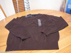 Men's NEW Tommy Hilfiger long sleeve sweater shirt v neck XL kensington brown