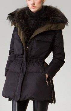 Fur Collar Elasticated Waist Short Down Coat
