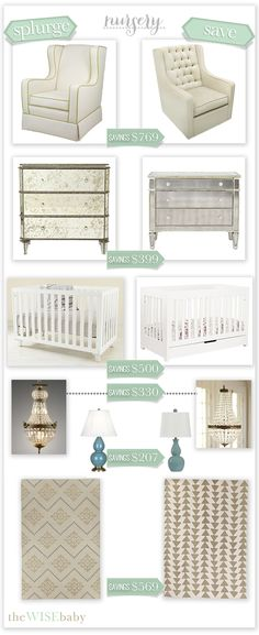 Nursery splurge vs saves! A nursery doesn't have to be expensive - here are six chic-as-can-be stand ins. Savings of over $2700!!