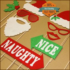 Photo Booth Props Mr and Mrs Santa Clause Christmas  Holiday Photo Booth Featuring Mistletoe and Naughty Nice Props - Fun Party Photobooth on Etsy, $19.99