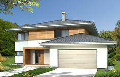 Wizualizacja HR Aleksandra Modern A 2 garaże CE Modern House Design, Smart Home, Exterior Design, House Plans, Villa, Backyard, Outdoor Decor, Home Decor, Home Plans