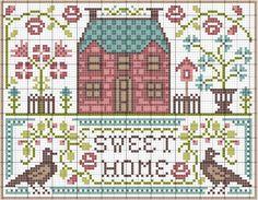 世界中のクロスステッチサイトからフリーチャートをご紹介。|薔薇のある家&鳥|クロスステッチ フリーチャート.com
