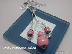 Pink Ceramic Beaded Pendant by BobsFashionJewelry on Etsy