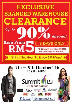 7-9 Oct 2016: Branded Warehouse Sale