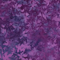Purple Blue Grape Leaves Cotton Batik Fabric