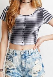 As Show O-Neck Short Striped Short Tees & T-shirts