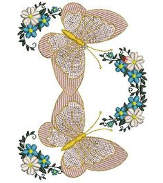 embroidery free download: download butterflies flor embroidery design