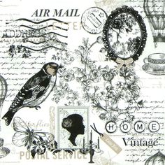 4 x Single Luxury Paper Napkins for Decoupage and Craft Vintage Poetie