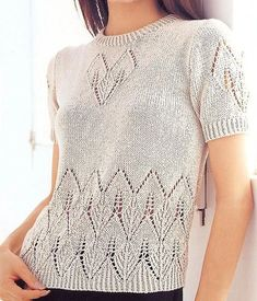 Easy Sweater Knitting Patterns, Lace Knitting Stitches, Knitting Machine Patterns, Knit Patterns, Tatting Patterns, Half Sweater, Handgestrickte Pullover, Summer Knitting, Sweater Design