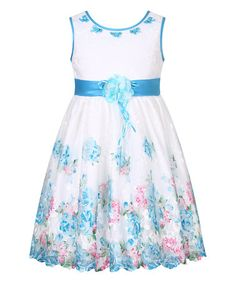 This Blue Floral Bow-Collar Sweet Princess Dress - Toddler & Girls is perfect! #zulilyfinds