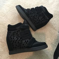 Aldo sneak wedges Great condition! Sneaker wedges from Aldo all black with black studs. Size 8.5. Velcro straps in front, very easy to slip on and very comfortable! ALDO Shoes Sneakers