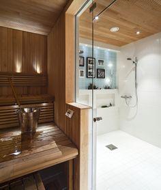 Sauna voi näyttää yhtä aikaa näin raikkaalta, iloiselta ja perinteiseltä! | Unelmien TaloKoti Kuva: Jari Lifländer Toimittaja: Kirsi Virrantalo, Sisustus Bene