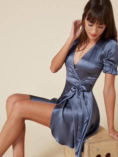 - save your breath - beauty lady Satin Dresses, Sexy Dresses, Short Dresses, Blue Satin Dress, Babydoll, Sunday Dress, Jolie Lingerie, Suspender Dress, Professional Dresses