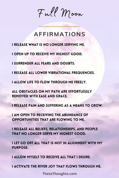 Full Moon Spells, Full Moon Ritual, Full Moon Meditation, Positive Self Affirmations, Healing Affirmations, Wealth Affirmations, Wiccan Spell Book, New Moon Rituals, Witchcraft For Beginners