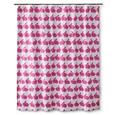 This shower curtain that's been overtaken by hot pink bunnies. | 25 Insanely Cute Products For People Who Are Obsessed With Bunnies