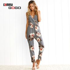 Summer Casual Jumpsuits Women Sleeveless V Neck Sashes Beach Sexy Rompers Strap Jumpsuit Backless Floral Print Overalls Gray #Affiliate