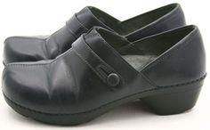 Dansko SOLTICE 40 womens dress shoes Size 9.5 10 slip on clogs Navy Blue Leather #Dansko #Clogs @ebay