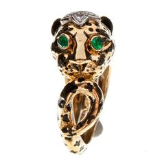 1stdibs - DAVID WEBB Diamond Emerald Gold and Platinum Leopard Ring explore items from 1,700  global dealers at 1stdibs.com
