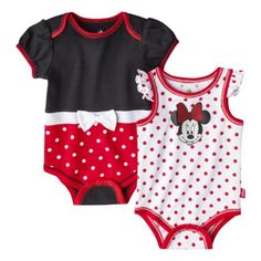 Disney® Newborn Girls' 2 Pack Minnie Mouse Bodysuit - Red this is so cute for a little newborn girl. I love these outfits so much I would totally buy these for my little baby girl. Disney Baby Clothes, Baby Kids Clothes, Baby Disney, Twin Baby Girls, Little Baby Girl, Newborn Girls, Baby Mouse, Minnie Mouse, Baby Swag