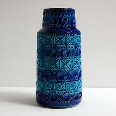 ★ Bay 605-25 Vase Bodo Mans West German Art Pottery Fat Lava Bitossi ★