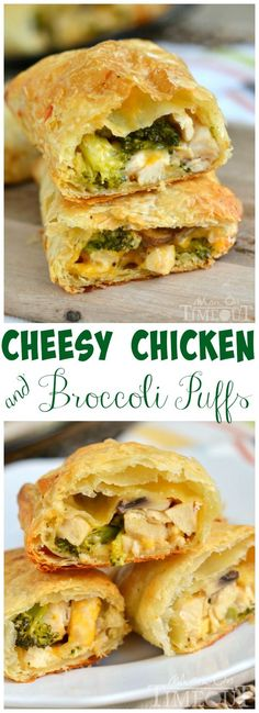 Cheesy Chicken and Broccoli Puffs for the dinner win! Made with rotisserie chicken and puff pastry, these puffs are delightfully easy to make and are a cheesy favorite with the family! | MomOnTimeout.com | #dinner #recipe #chicken