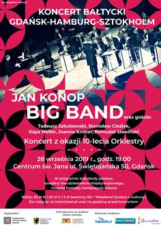 Plakat promujący koncert Jan Konop Big Band. Band, Movie Posters, Hamburg, Sash, Film Poster, Bands, Billboard, Film Posters