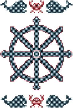 Cross Stitch Pattern Ship Steering Wheel with Crabs  Whales Nautical Theme Cross Stitch