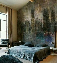 The texture of the wall is very interesting it's a very soft texture and the blanket matches