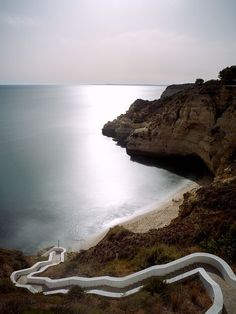Steps to Praia do Paraiso on the Algarve Coast in Portugal