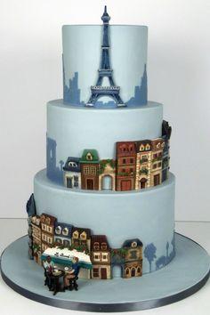 Bolo dos noivos inspirado em Paris. #casamento #bolodosnoivos #azul #TorreEiffel #Paris