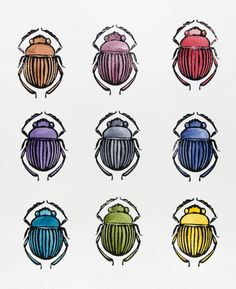 """Nine Scarabs I"" block print and watercolor on Arches 140# / 300gsm paper. Painting by Prem Krishnan."