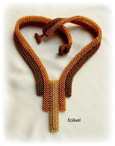 Beaded gold honey brown necklace seed bead jewelry OOAK by Szikati, $185.00