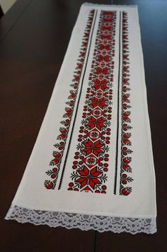 Your place to buy and sell all things handmade - Handmade Cross Stitch Table Runner/Romanian Handmade Cross Stitch Borders, Cross Stitch Designs, Cross Stitch Patterns, Ribbon Embroidery, Embroidery Stitches, Rustic Table Runners, Palestinian Embroidery, Christmas Table Cloth, Handmade Table