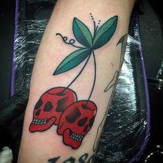 Cherry skull tattoo by Dan Selfmade. Dan Selfmade by Cherry Skull Tattoo. Skull Hand Tattoo, Skull Tattoos, Body Art Tattoos, Hand Tattoos, Sleeve Tattoos, Octopus Tattoos, Tattoo Ink, Xoil Tattoos, Forearm Tattoos