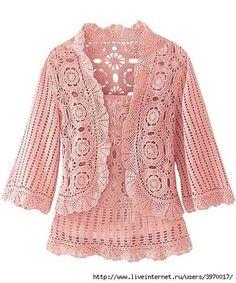 Long Crochet Coat Pattern | Motif Jacket and Top Set free crochet graph pattern / crochet ideas ...