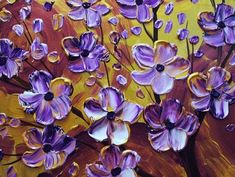 Purple flower painting, Impasto-Painting-Ideas-And-Techniques-For-Beginners Oil Painting For Beginners, Acrylic Painting Techniques, Beginner Painting, Painting Lessons, Acrylic Paintings, Acrylic Art, Oil Paintings, Painting Edges, Painting & Drawing