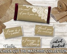 Brown And Tan Burlap And Lace Bridal Shower Theme: Hershey Mini And Standard Wrappers - decoration labels, instant download - NR0BX #bridalshower #bride-to-be #bridetobe