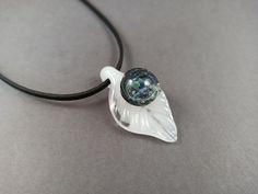 White Leaf, Leaf Pendant, Unique Necklaces, Hand Blown Glass, Glass Pendants, Black Suede, Necklace Lengths, Opal