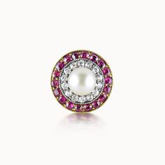 NATURAL PEARL, RUBY AND DIAMOND TARGET RING