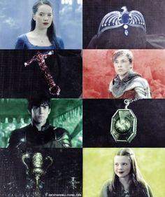 nachthimmell:  Hogwarts Founders fancast: Susan Pevensie as Rowena Ravenclaw Peter Pevensie as Godric Gryffindor Edmund Pevensie as Salazar Slytherin Lucy Pevensie as Helga Hufflepuff: