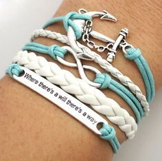 Light Blue Wax Cord 'Where there's a will there's a way' Bracelet Stack - Black & White Boutique LLP