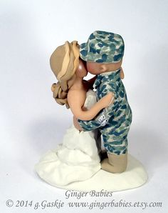Bride Groom Cake Topper Military Wedding Party Soldier Army Theme