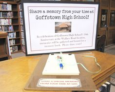 2015 will mark the 50th anniversary of the Goffstown High School building. Part of the celebration is a school archive for memorabilia, including photos,  keepsake items, and handwritten journal entries from graduates of GHS.  Visit the Goffstown Public Library 2nd floor to record your memories on special paper that will be gathered in a bound volume. Please, no matter which years you attended Goffstown High School, stop in and jot down YOUR memories!