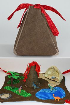 Craftster user HollyRH shows us how she made this portable Dinosaur Play Mat for her son. I love that it looks like a volcano when closed.